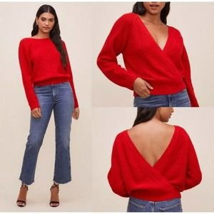 ASTR the Label Serena Sweater Cherry Red Wrap